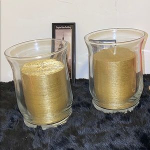Set of 2 Gold tone candle in clear  glass vases